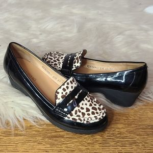 Faux hair penny loafers size 6.5 fuguiniao